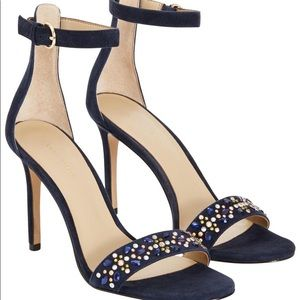 Ann Taylor Navy Aviva Suede Leather Stone Pumps